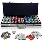 Jago - Mallette Professionnelle de Poker 500 Jetons 2 Jeux de Cartes 5 Dés 1 Bouton Dealer