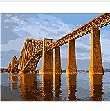 Escocia Edimburgo Río Puente Ferroviario Diy Colorear Por Números Decoración De Pared Pintura Pintura Digital 50X60CM