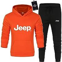 CONVERMPU Uomo e Donna Tute Per Je-Ep.s Pantaloni Sportivi con Cappuccio a Tinta Unita in Due Pezzi Casuale/arancia/M…