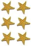 6 Aufnäher Bügelbild Aufbügler Iron on Patches Applikation Sticker Stern 2,2 x 2,2cm Farbe: Lurex-Gold Vor125-64