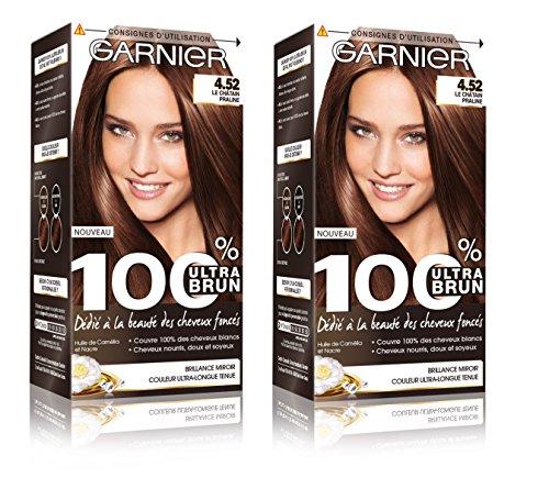 Garnier - 100% Ultra Brun - Coloration Permanente Châtain - Le Châtain Praline 4.52 Lot de 2