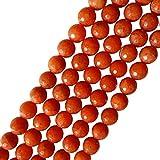 AQBEADSUK 10mm Naranja ‡gata tallado alrededor de piedras preciosas perlas del...