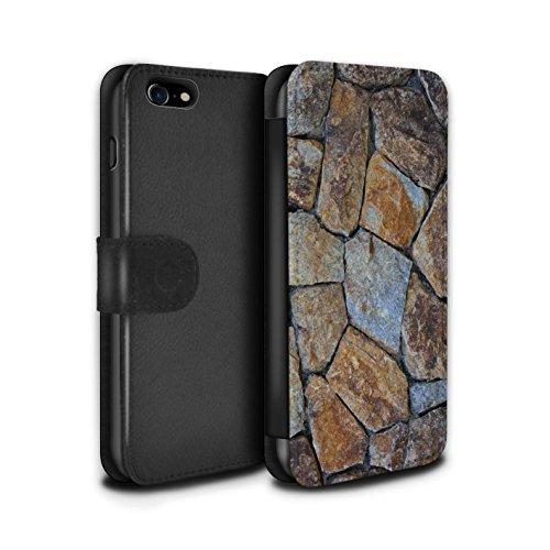 Stuff4 Coque/Etui/Housse Cuir PU Case/Cover pour Apple iPhone 7 / Cailloux Lisse Design / Pierre/Rock Collection Petit Mur de Pierre