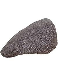New Mens Tweed Herringbone Flat Cap Size 58 Black