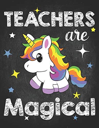 Teacher Life: Teachers Are Magical Kawaii Unicorn Teaching 2020 Planner Calendar Daily Weekly Monthly Organizer 8.5x11 Magic fantasy among the stars & chalk letters -