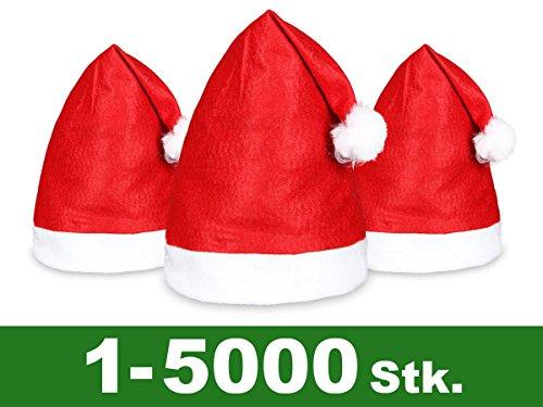 Kostüm Kopf Bommel (Weihnachtsmütze Nikolausmütze rot weiß Weihnachtsmützen-Set | mit Bommel, angenehm zu tragen | 48 Stück in Einheitsgröße | 1- 5000 Stück)