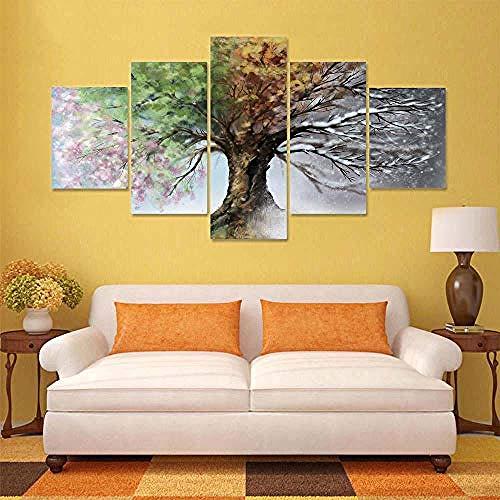 RYJDDP Fünf Leinwandbilder Modulare Hd Gedruckt Leinwand Poster 5 Panel Vier Jahreszeiten Baum Kunstwerk Malerei Dekoration Wohnzimmer Wandbilder-B-Eingerahmt -