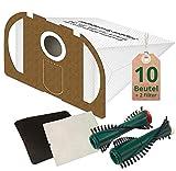 10 weiße Staubsaugerbeutel Filtertüten und Bürsten passend für Vorwerk Tiger 250 251 252 Staubsauger mit ET 340 EB 350 oder 351
