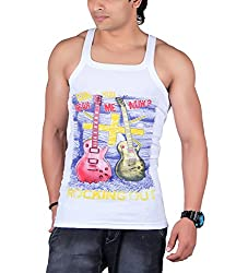 White Moon Mens Cotton Gym Vest (WM555_Hear_me_Now_Multi-Coloured_Medium)