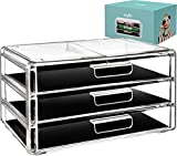 Acrylic Cosmetic Drawer Storage Organizers  Clear countertop 3 drawers box ideal for any vanity or bathroom! Makeup organizer for make up brush palette lip gloss cream perfect cosmetics case holder!