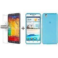TBOC® Pack: Funda de Gel TPU Azul Claro + Protector Pantalla Vidrio Templado para Huawei Ascend G630. Funda de Silicona Ultrafina y Flexible. Protector de pantalla Resistente a Golpes, Caídas y Arañazos.