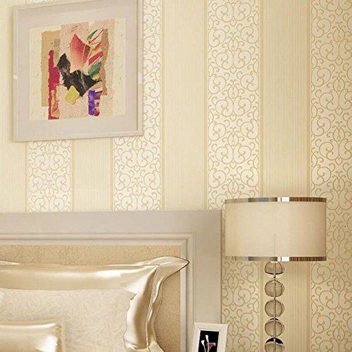 *Tapete Schlafzimmer Tapete selbstklebende Wandbild Vliestapete Europäische Tapete Wohnzimmer Schlafsofa TV Hintergrund Wandaufkleber (0,53x10m) (Color : Beige)*