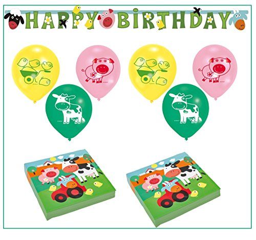 Libetui Kinder Geburtstag Dekoration Set 'Bauernhof' Happy Birthday Deko Bunte Partykette Luftballons Servietten Farm Fun