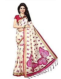 Floral Trendz Art Silk Butterfly Motifs Khadi Printed Saree With Tassels (With Blouse Piece)