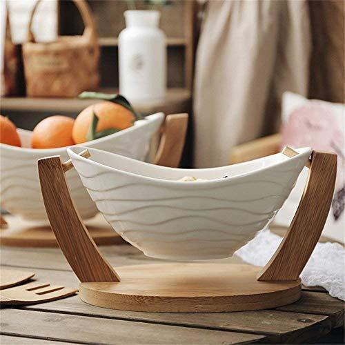 Geschirr/Küche Wiege Salatschüssel Obst Dessert Snack Schüssel Mit Bambus Holz Halterung Kreative Keramik Geschirr Weiß Outdoor Camping,Large