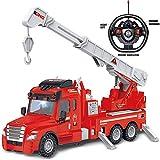 Rexco 2006466 Grande radiocommandée Rc Rouge Pompier Camion de Sauvetage Brigade Véhicule de Secours pour Enfants Fonctionne à Piles Cadeau avec lumière et Son