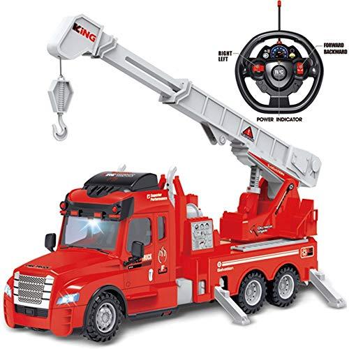 rexco 2006466 - juguete para niños con control remoto por radio rc, camión de bomberos rojos y vehículo de rescate con batería