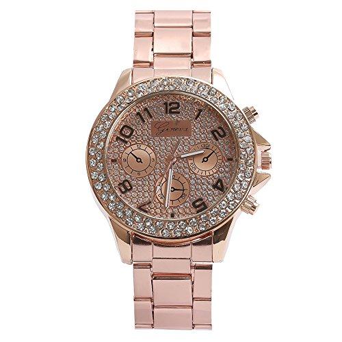 Rosepoem Elegent Strass Uhr Kristall Diamant Zifferblatt Uhr Luxus Armbanduhr Analog Kristall Armbanduhr für Frauen Damen Rose Gold