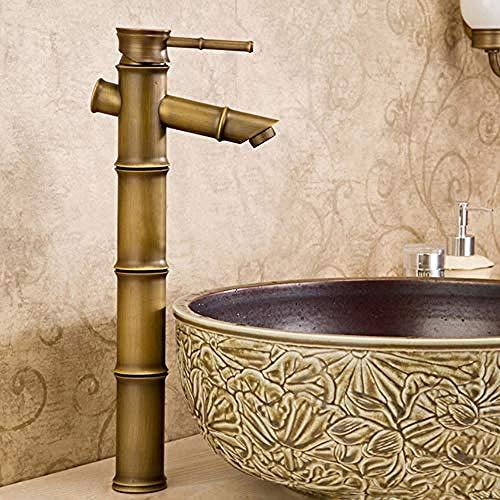 Bambus Wasserfall (Wasserhahn-Becken Wasserhahn Antik Messing Bambus Wasserfall Waschbecken Wasserhahn Einhebel Bad Abdeckung WC Mischbatterie Wasserhähne Wc)