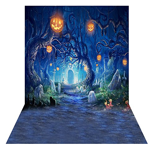 Andoer 1.5 * 2m Fotografie-Hintergrund-Hintergrund Digital-Druck Hallowmas Halloween-Kürbis-Friedhof-Muster für Foto-Studio