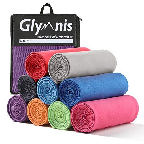 Glymnis Mikrofaser Handtücher Sporthandtuch Reisehandtuch 3 Farben in 3 Größen schnelltrocknend saugfähig weich Badetuch Strandhandtuch für Sport Schwimmen Strand (Lila, 152X76cm)