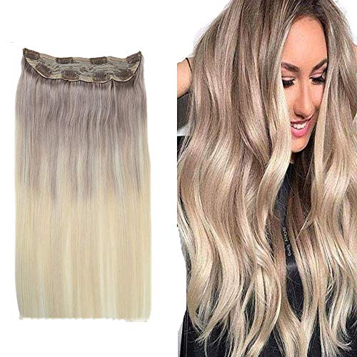 Easyouth Clip In Extensions Balayage 100g Farbe #18 Aschblond Fading To #60 Platinblond 16 Zoll Human Hair Clip In Hair Extensions Clip In Extensions Dickes Echthaar