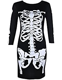 Women's Ladies Skull Bones Skeleton Printed Halloween Party Long Sleeve Bodycon Dress