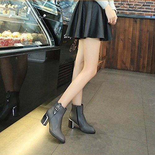 Padgene Damen Blockabsatz Ankle Boots Stiefel Rund Stiefelletten Schnalle Dekor Reißverschluss Grau