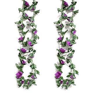 Mila-Amaz 2Pcs Guirnalda de Rosas Artificiales de Seda, Flores Artificiales con Hojas Verdes Enredadera de Rosas para Decoración en Bodas en Casa, Púrpura