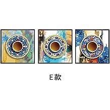 Meilanse Salon moderne et minimaliste, la peinture décorative murale canapé, peintures murales, Nordic Restaurants, créatif, l'Art Abstrait, peintures murales Triple,50*50 Recommandation [Restaurant],Black Border,E,un ensemble de trois prix