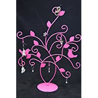 Jewelry Tree Stand Display Earrings Necklace Ring Ornament Holder, Hot Pink
