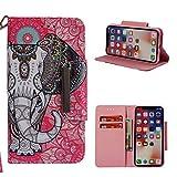 Cozy Hut iPhone X/iPhone XS Schutzhülle, Premium Leder Hülle Flip Case Tasche Hüllen mit Magnetverschluss Standfunktion Schutzhülle handyhüllen für iPhone X/iPhone XS - Totemsymbol