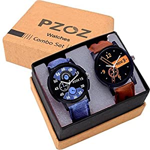 PZOZ Analogue Men's & Boys' Watch (Multicolored Dial Assorted Colored Strap) (Pack of 2)