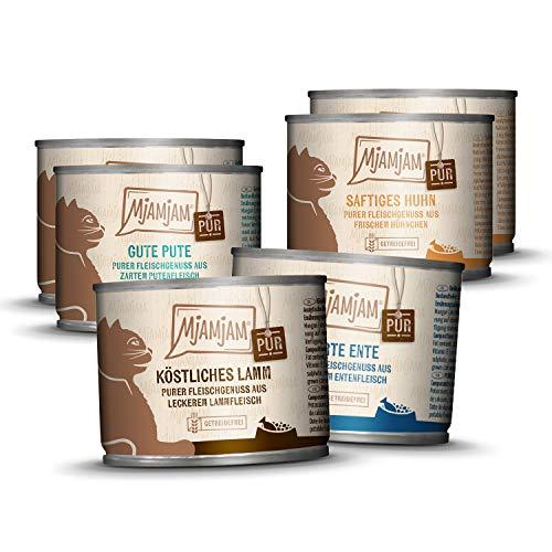 MjAMjAM - Premium Nassfutter für Katzen - Mixpaket V - Purer Fleischgenuss, 6er Pack (6 x 200 g), getreidefrei mit extra viel Fleisch