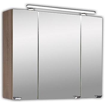 20,0 x 91,0 x 72,0 cm PELIPAL 382 Lagos Spiegelschrank Lamezia III Holzdekor Eiche Natur