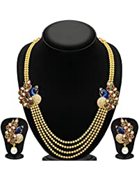 Aabhu Jewellery Gleaming Peacock Four Strings Gold Plated Pearl Necklace Set Haar With Earring For Woman And Girl