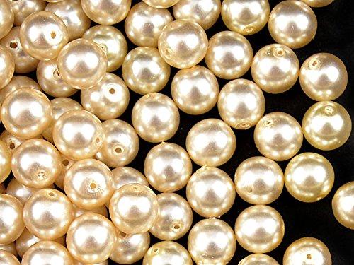 30pc Ceco Vetro Pressato Perle, Imitazione di perle, Tondo Diametro 8 mm, Colore: Beige Pastel
