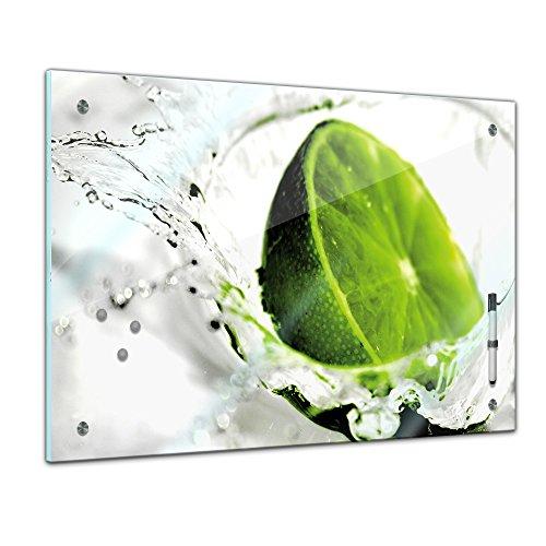Memoboard - 60 x 40 cm, Essen und Trinken - Limette - Memotafel Pinnwand - Frucht - Früchte - Obst - Obstbild - Eis - Wasser - Limone - Zitrusfrucht - Küche - Küchenbild - Esszimmer - Limettenbild