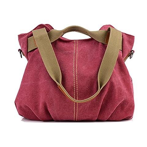 LOSMILE Damen- Leinwand Handtasche Schultertasche Leinentasche Umhängetasche Tragetasche Henkeltasche Hobo Tasche (Zwei Taschen Hobo)