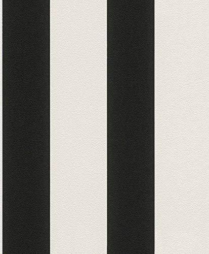 Vliestapete Streifen Gestreift weiß schwarz Tapete Rasch Prego 700275