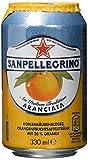 San Pellegrino Aranciata/Orangenlimonade/Hoher Fruchtanteil/20% frisch gepresste Orangen/Leicht herbe Geschmacksnote/Ohne künstliche Farbstoffe/24er Pack (24 x 0,33l) Einweg Dosen