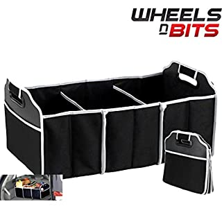 Wheels N Bits Collapsible Boot Organiser 3 Large Compartments Pocket Car