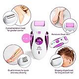 4 en 1 Meilleur appareil électrique pour les femmes : Râpe à pied/ Épilateur/ Rasoir/ Tondeuse + Set de Coupe-ongles – Morpilot Cadeau idéal de soins quotidiens pour tous les types de peau - 4