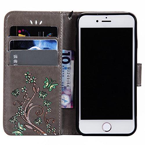 iPhone 7 Smartphone Cassa, CLTPY Puro Vintage Belle Portatile Back Cover in Soft Morbida Corda, Completa Semplice Kickstand e Cinghia Strap Resistenza Disegno Protettivo Case per Apple iPhone 7 4.7(N Grigio