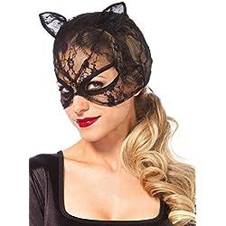 Máscara Leg Avenue Disfraz Gato Negro Encaje Mujeres Tamaño