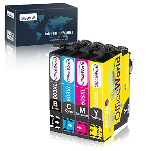 OFFICEWORLD 603XL Sostituzione per Epson 603 XL 603XL Cartucce d'inchiostro per Epson Expression Home XP-2100 XP-2105 XP-3100 XP-3105 XP-4100 XP-4105 WorkForce WF-2810 WF-2830 WF-2835 WF-2850