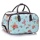 LeahWard Großes Qualitäts-Gepäck der Frauen Canvas Butterfly / Owl Print Reisetaschen mit Rad Koffer Handtaschen CW308 (Blau Schmetterlingsdruck)