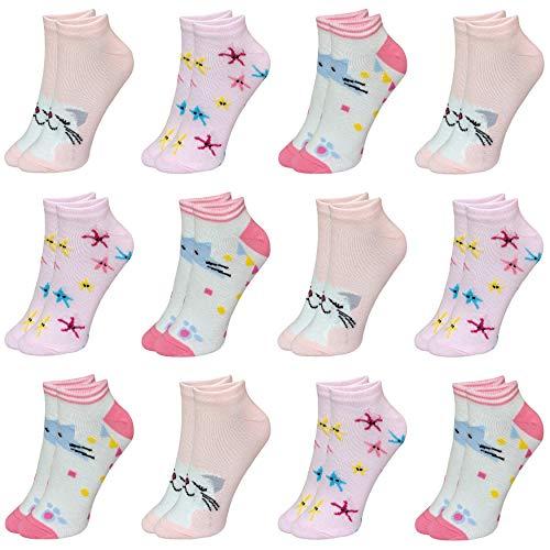 12 Paar Kinder Mädchen Baumwolle Socken Kindersocken Sneaker (29-32, Modell 4)