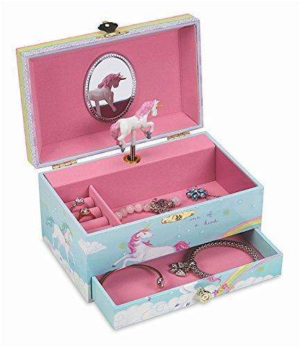 (JewelKeeper - Spieluhr Schmuckkästchen mit Ausziehfach, Regenbogen Einhorn Design - The Unicorn Melodie)