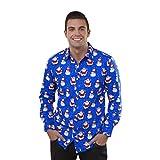 Herren Hemd T-Shirt Herbst Winter Weihnachten Drucken Top Langarm Bluse Von Xinan (XXL, Blau)